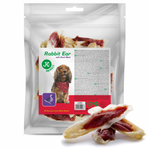 JK Duck Rabbit Ear suņu gardums Truša ausis ar pīli 500g