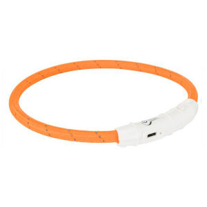 Trixie Flash Ring USB suņu kaklasiksna ar gaismu M/L 45cm Orange